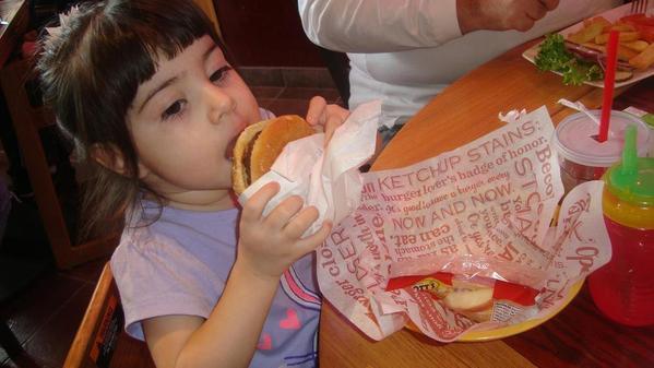 Having a burger at Red Robin