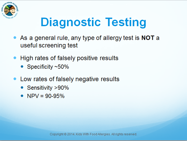 Diagnostic testing for food allergies