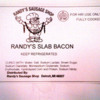 Soy Allergy Alert:  Randy's Slab Bacon