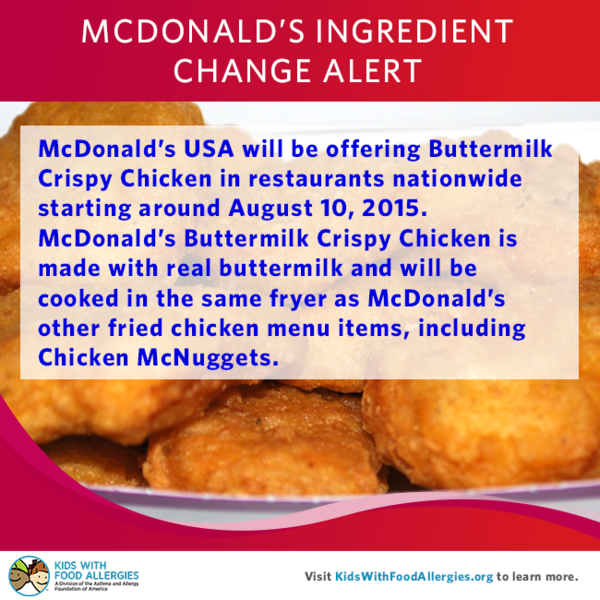 Milk allergy alert mcdonalds fried chicken items kids with food like forumfinder Image collections