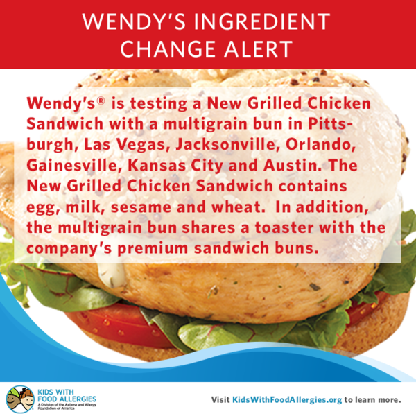 Milk and sesame allergy alert wendy 39 s new grilled chicken for Does wendy s have a fish sandwich