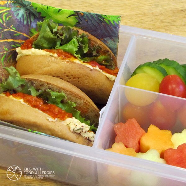 Allergy-friendly school lunch - bagel with milk-free cream cheese roasted pepper spread