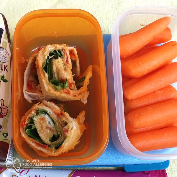 Allergy-friendly school lunch - milk-free cream cheese wrap