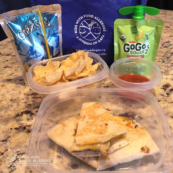 allergy-friendly lunch: quesadillas