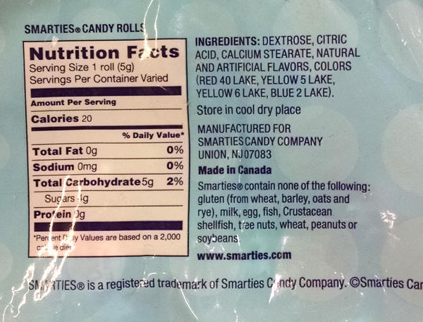 "Do You Know the Label Reading ""Tricks"" to Make Sure Your ... Smarties Calories"