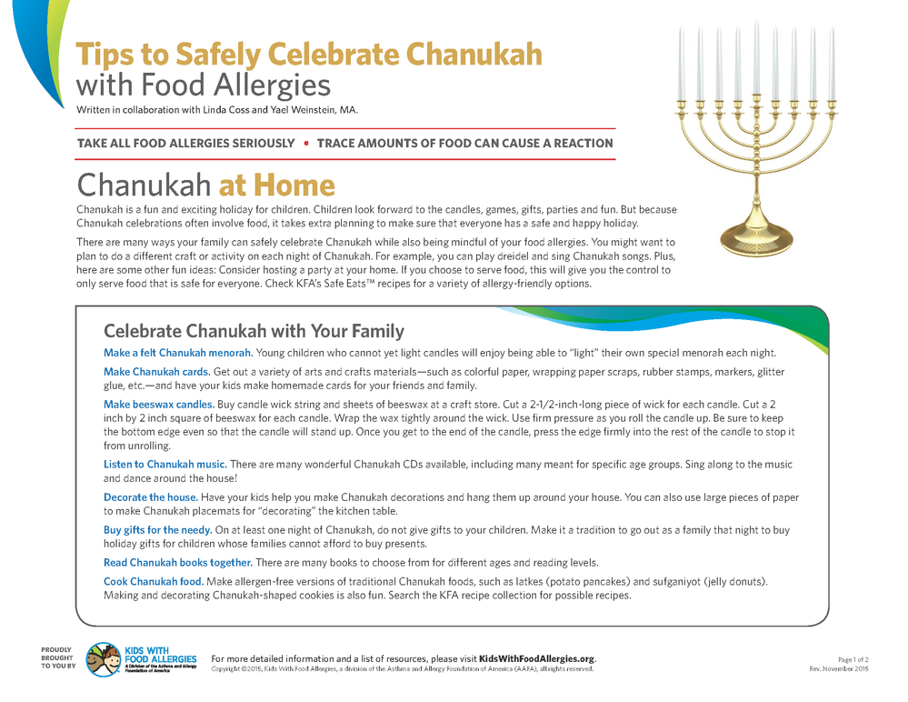 Tips to safely celebrate chanukah with food allergies with handout like forumfinder Images
