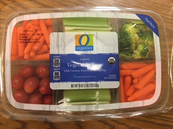 organic vegetable tray