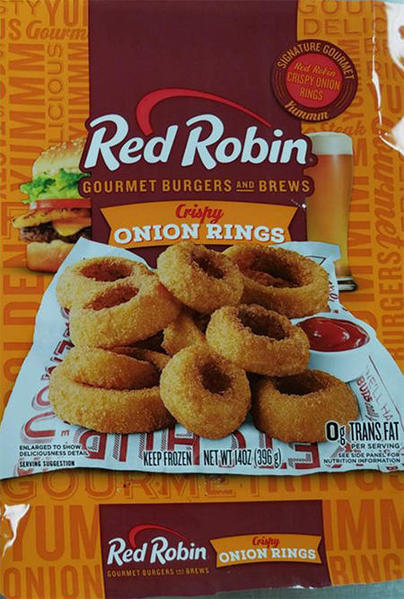 Product label, retail bag front, Red Robin Gourmet Burgers and Brews Crispy onion Rings NET WT 14OZ