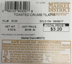 Market District Toasted Crumb Tilapia, PLU 09123
