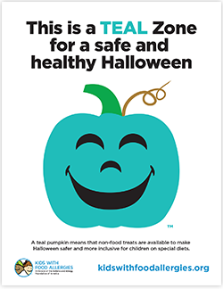 This is a Teal Zone poster for a safe and healthy Halloween