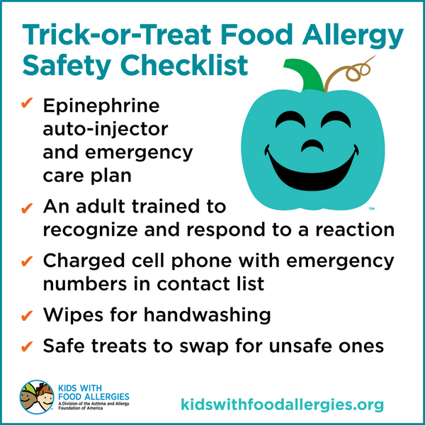 Trick or Treating Checklist for food allergies