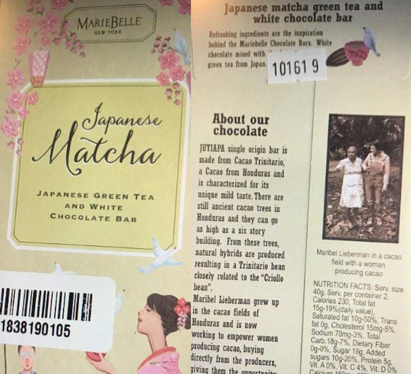 Product packaging MarieBelle Japanese Matcha Japanese Green Tea and White Chocolate Bar