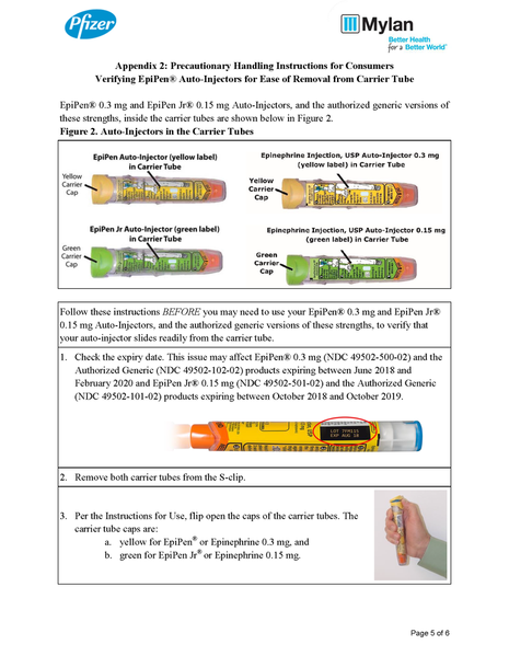 warning advisory some epipen auto injectors may not readily slide