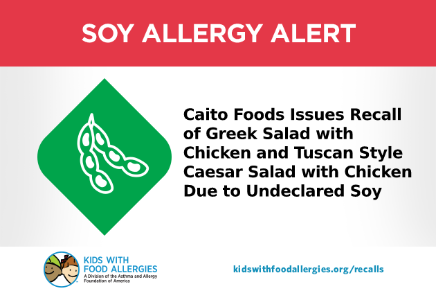 Soy Allergy Alert - Caito Foods Greek Salad and Tuscan Style