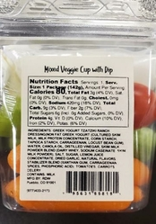 Side label, mixed veggie cup with dip