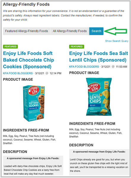 Screenshot of Allergy-Friendly Food Finds search