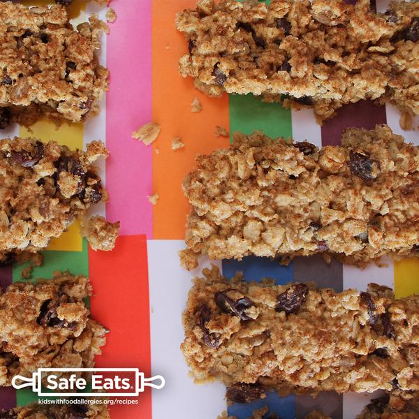 Oatmeal Breakfast Bars – free of egg, fish, gluten, milk, peanut, sesame, shellfish, soy, tree nuts, and wheat