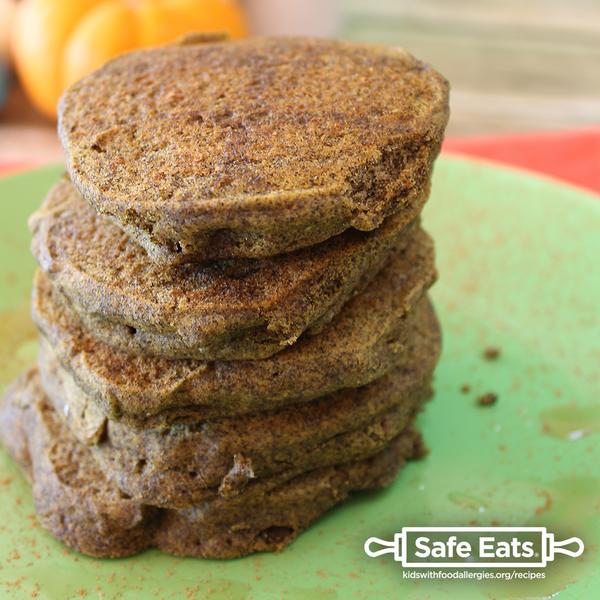 Pumpkin Pancakes – free of egg, fish, gluten, peanut, sesame, shellfish, soy, tree nuts, and wheat