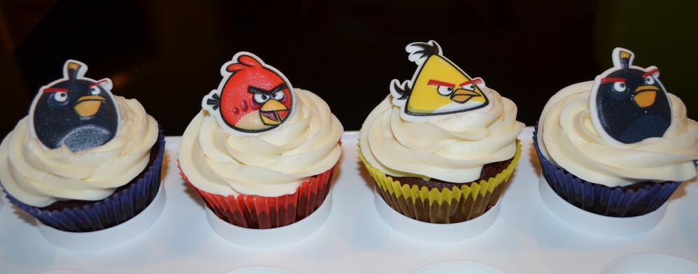 Angry Birds Cupcakes--free of dairy, eggs, wheat, peanuts and tree nuts