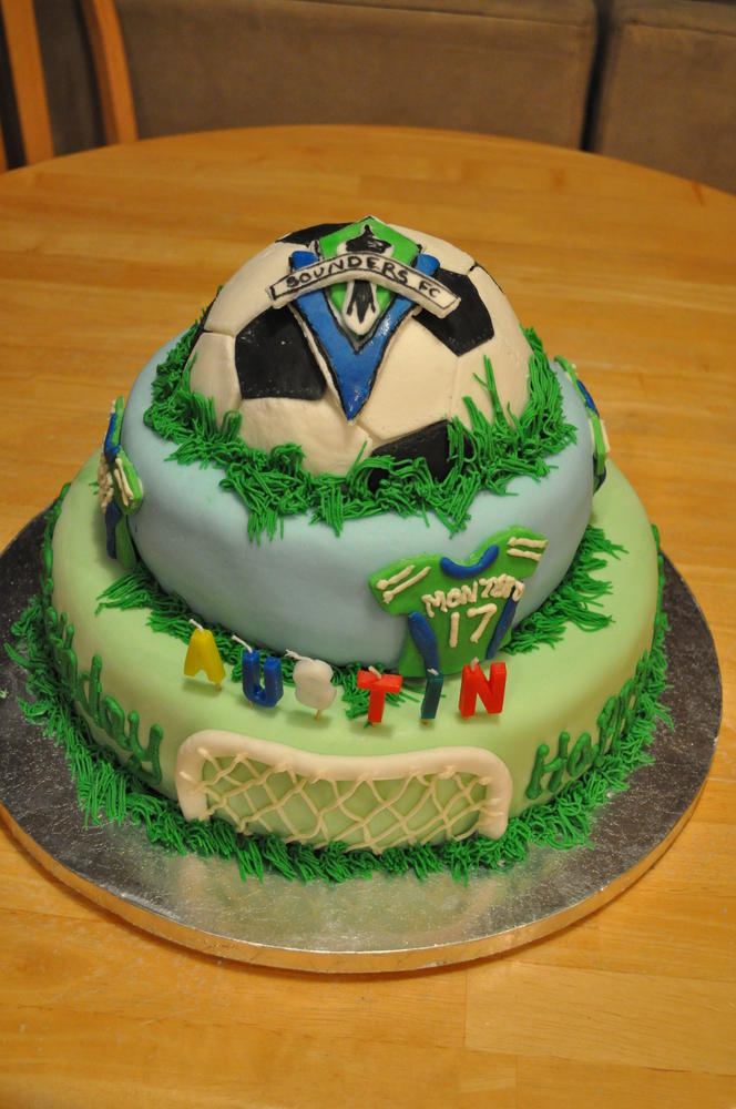 Sons 3rd Birthday cake a Sounders Soccer Fan Kids With Food Allergies