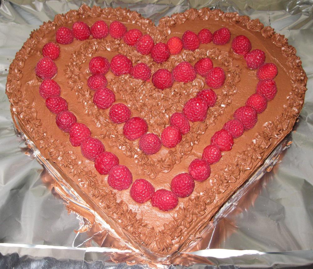 Chocolate Heart Cake with Raspberries (egg, dairy, tree nut & peanut free)