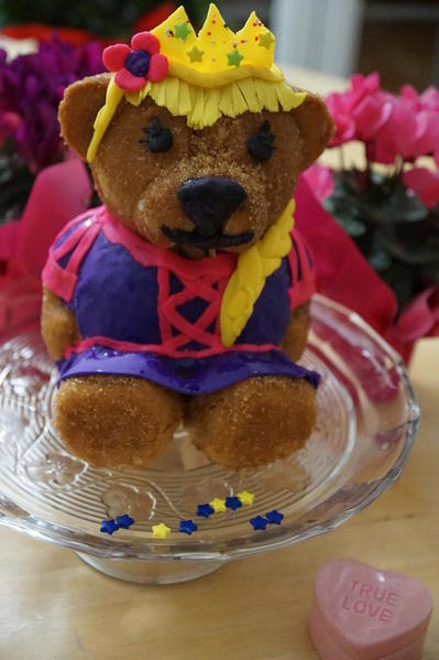 Gluten, dairy, milk, egg, soy, potato, nut free Rapunzel Build a Bear cake!
