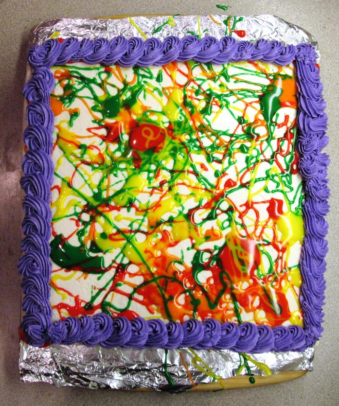 """Splatter Paint"" cake - egg, milk, peanut & tree nut free"