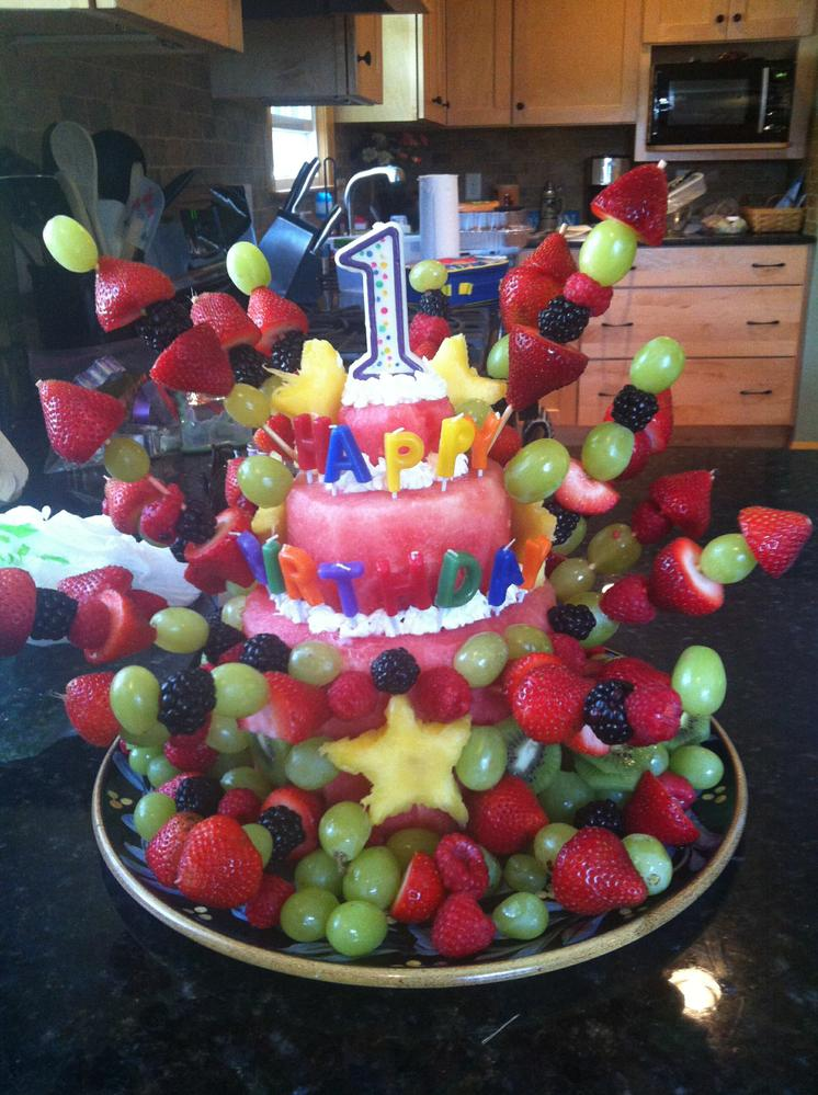 we made this cake out of fruit for Gs first birthday. Shortly after ...