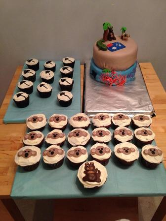 Australia Themed Cake and Cupcakes
