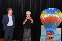 Cary Sennett and Jan Goldstein speaking about the AAFA-KFA mosaic