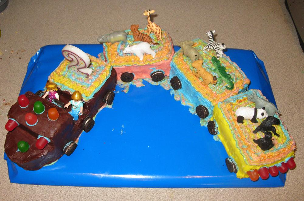 Zoo Train Birthday Cake free of dairy and egg Kids With Food Allergies
