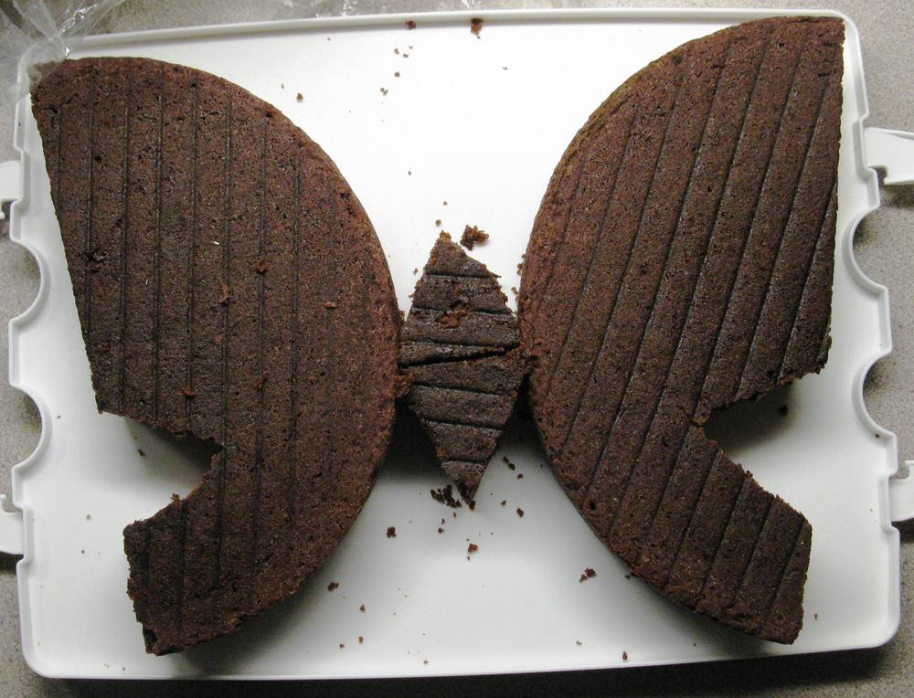 butterfly cake (before frosting) - egg & dairy-free wacky cake