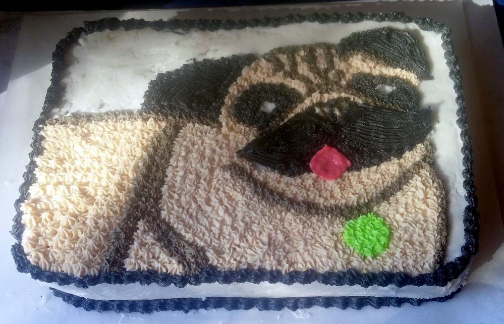 Pugstache Cake