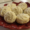 Rosette Spritz Cookies with Egg Nog Cream Filling - dairy, egg, gluten free