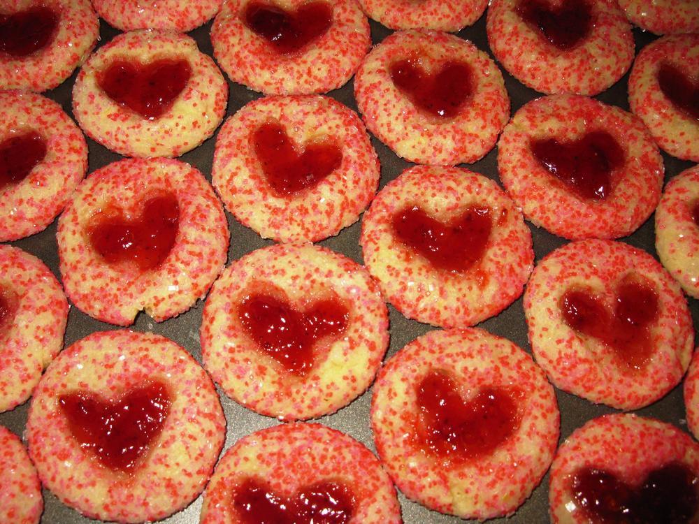 Valentine's thumbprint cookies
