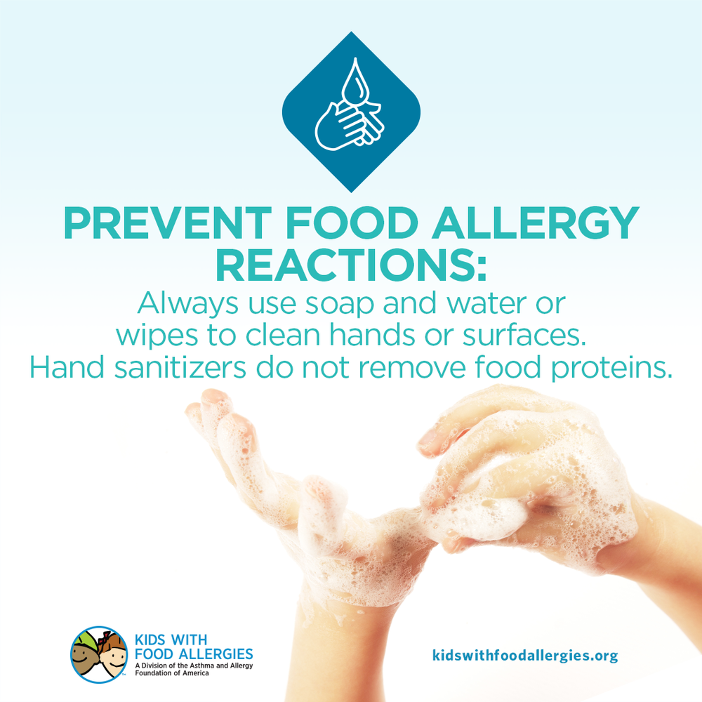 Food Allergy Education: Hand Sanitizer Will Not Remove Food Proteins