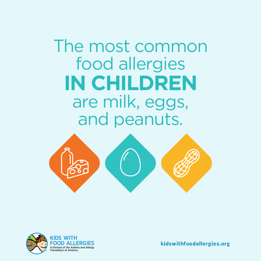 Food Allergy Education: Milk, Egg and Peanut are the Most Common Food Allergies in Children