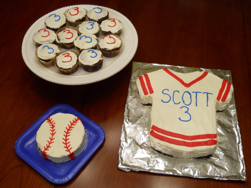 Scott's 3rd B-Day baseball themed cakes free of peanuts and tree nuts