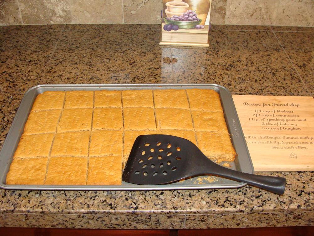 Mock Graham Crackers (free of milk, wheat, egg, peanuts, tree nuts, and corn)